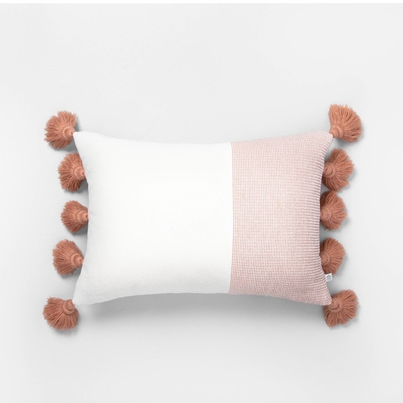 Hearth & Hand Textured Copper Tassel Throw Pillow